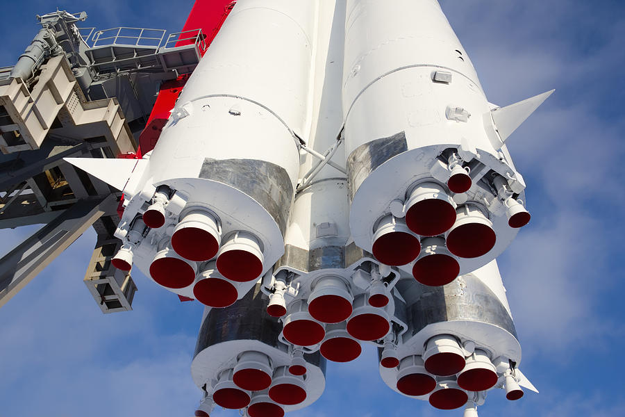 Monument space transport rocket Vostok in Moscow Photograph by Lutavia