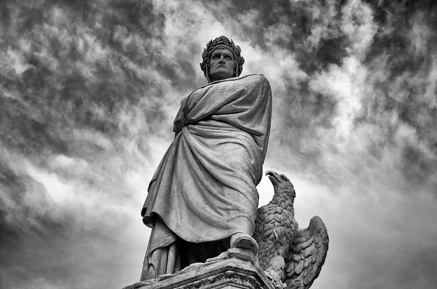Monument to Dante Alighieri Statue in Piazza Santa Croce Florence Italy Black and White by Shawn O'Brien