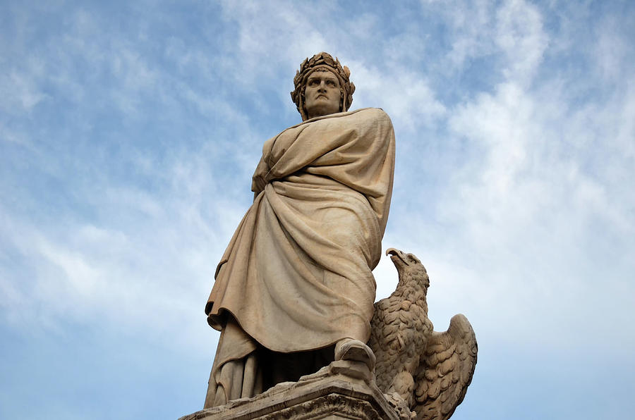 Monument to Dante Alighieri Statue in Piazza Santa Croce Florence Italy by Shawn O'Brien