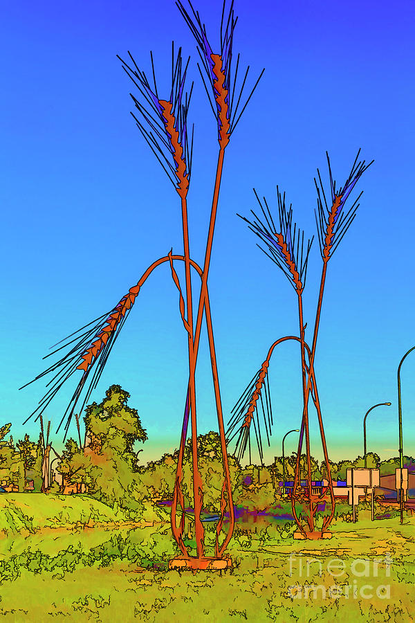 Monument To Spikelets Of Wheat Digital Art