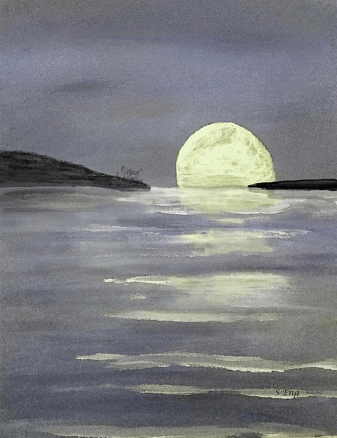 Moon Glow Digital Watercolor 300 by Sharon Williams Eng
