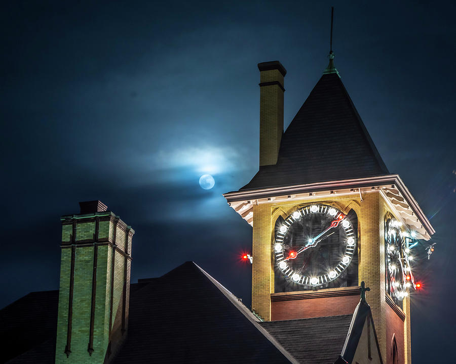 Moon Over City Hall by Dave Hilbert