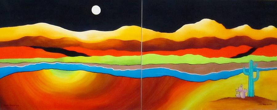 Moon Painting - Moon Over Desert River by Carol Sabo