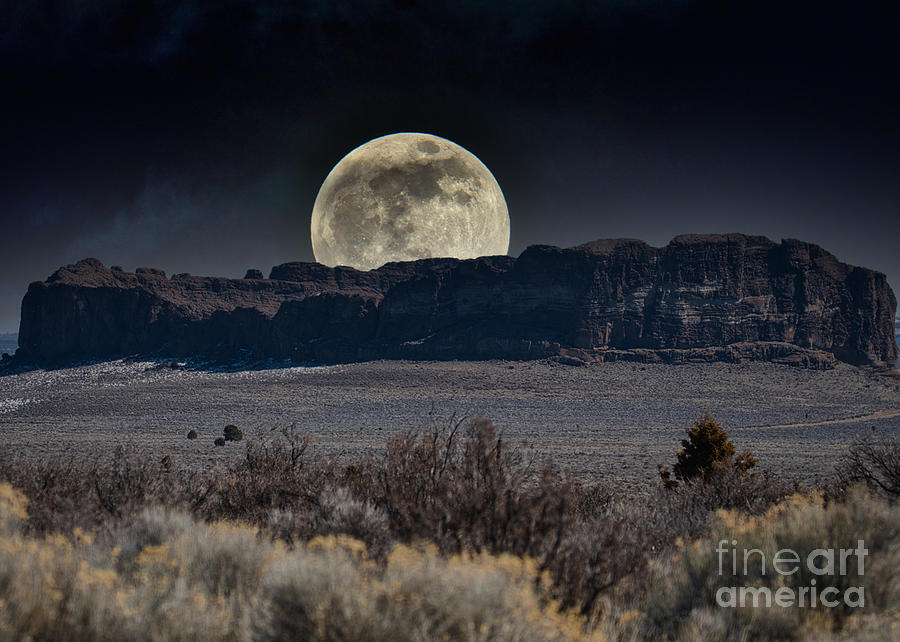 Moon over Fort Rock by Stan Townsend