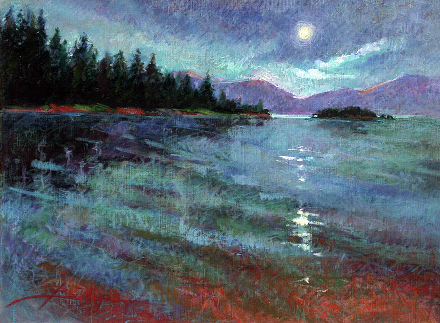 Lake Pend Orielle Painting - Moon Over Lake Pend Orielle by Betty Jean Billups