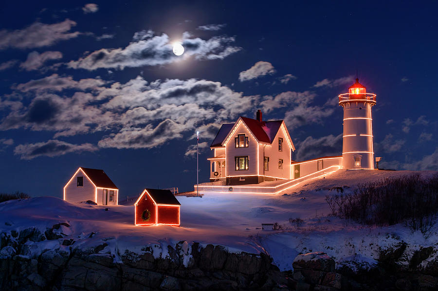 America Photograph - Moon Over Nubble by Michael Blanchette