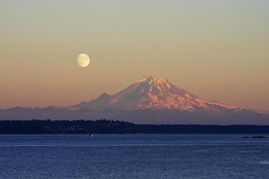 3scape Photograph - Moon Over Rainier by Adam Romanowicz