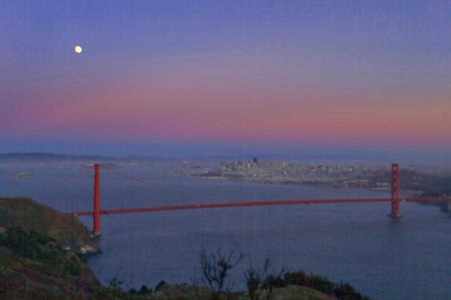 Moon Over The Golden Gate by Tom Singleton