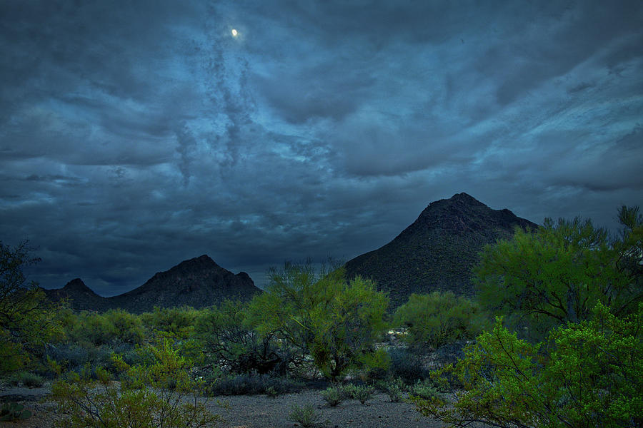 Moon over the Tucson Mountains by Chance Kafka