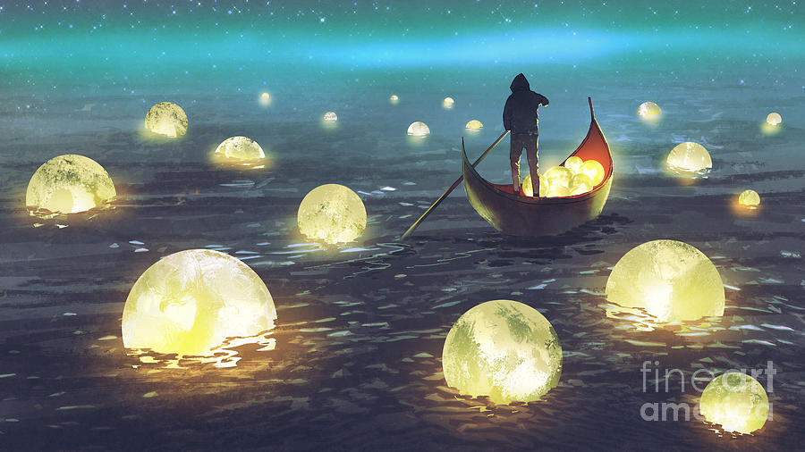 Illustration Painting - Moon Picking by Tithi Luadthong