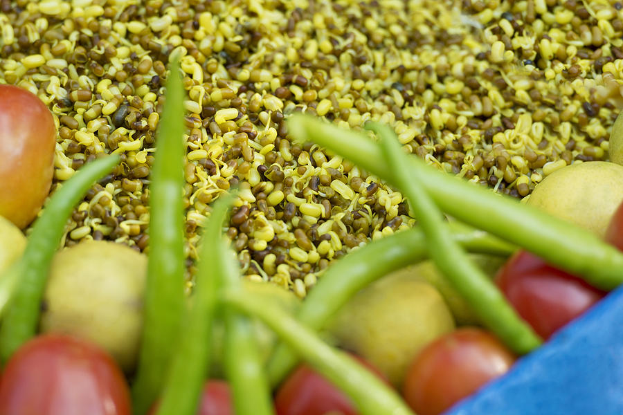 Moong Daal Sprouts at the street food stand Photograph by IndiaPix/IndiaPicture