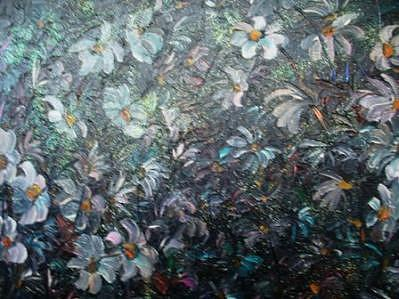 Moonlight And Daisies.. Painting by Karin  Dawn Kelshall- Best