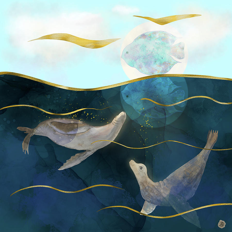 Global Warming Digital Art - Moonlight Mirage - Sea Lions Dream by Andreea Dumez