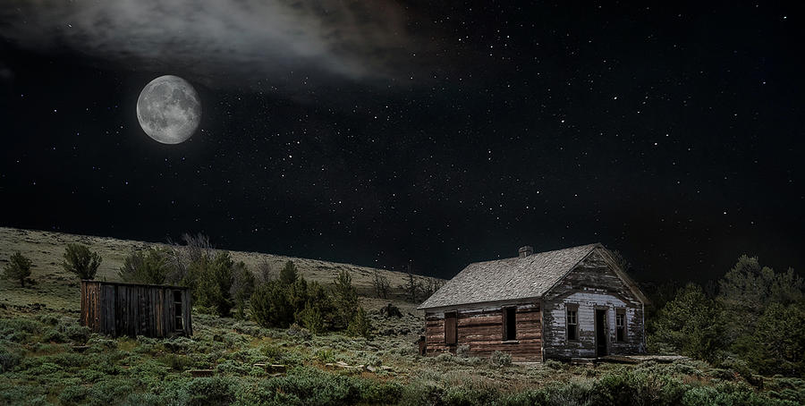 Moonlit Cabin Photograph by Laura Terriere