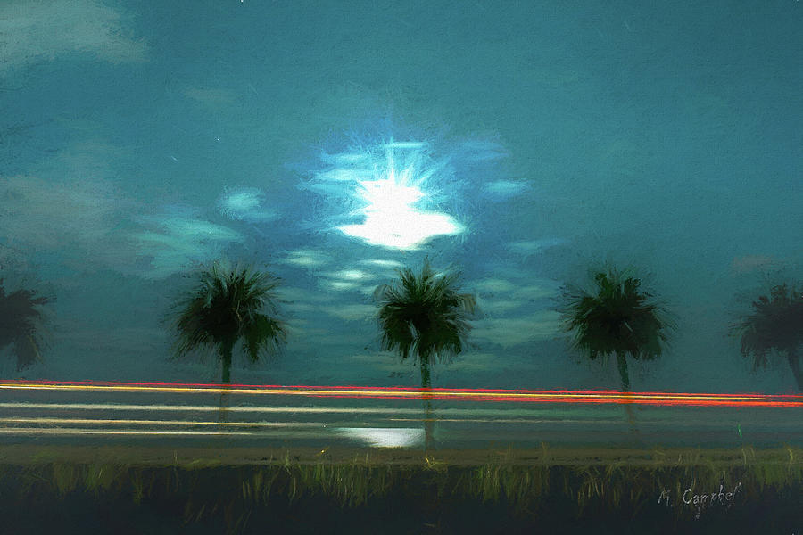 Moonlit Palm Drive-By by Michael Campbell