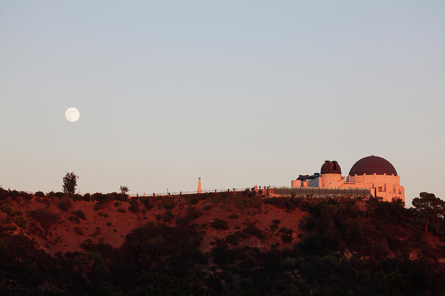 Moonrise Over Griffith Observatory In Los Angeles Photograph