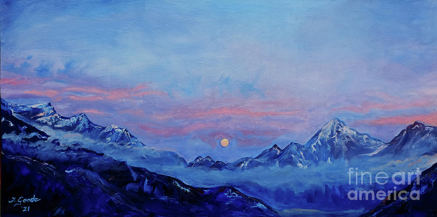 Moonrise Over The Alps Painting