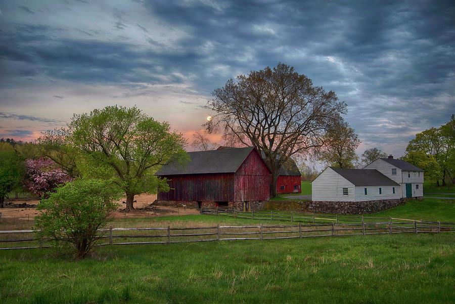 Sunrise Over Red Barn Photograph