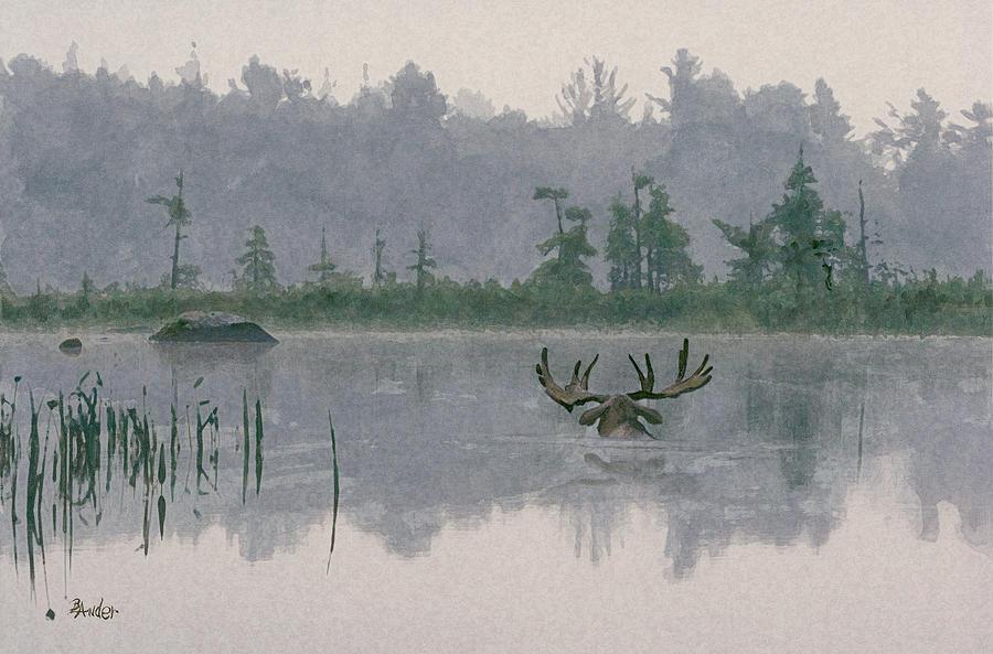 Moose Painting - Moose Crossing by Brent Ander