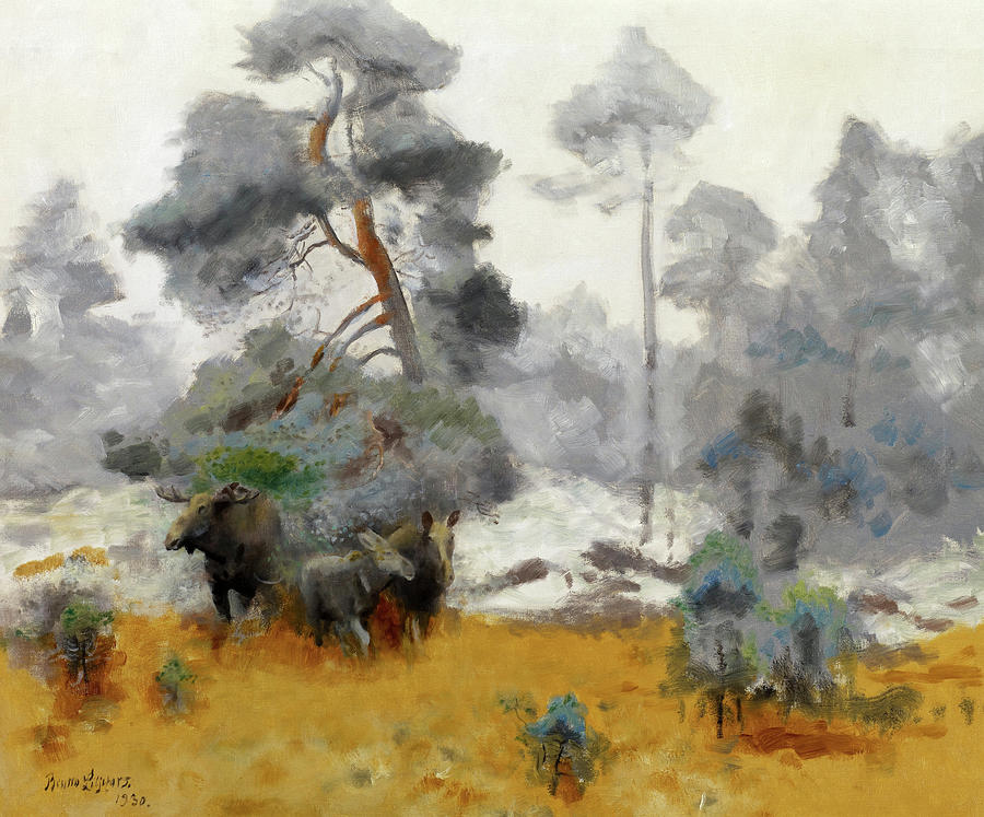 Bruno Liljefors Painting - Moose Family Entering A Clearing, 1930 by Bruno Liljefors