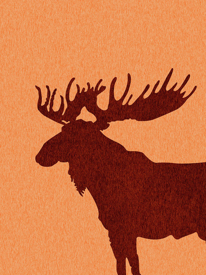 Moose Silhouette - Scandinavian Nursery Decor - Animal Friends - For Kids Room - Minimal Mixed Media