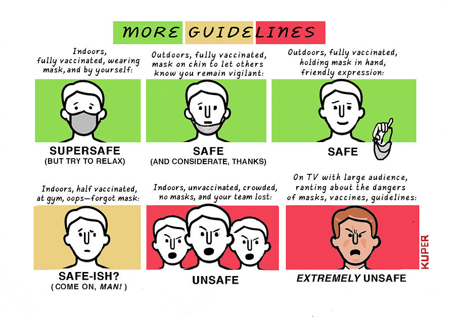More CDC Guidelines Drawing by Peter Kuper