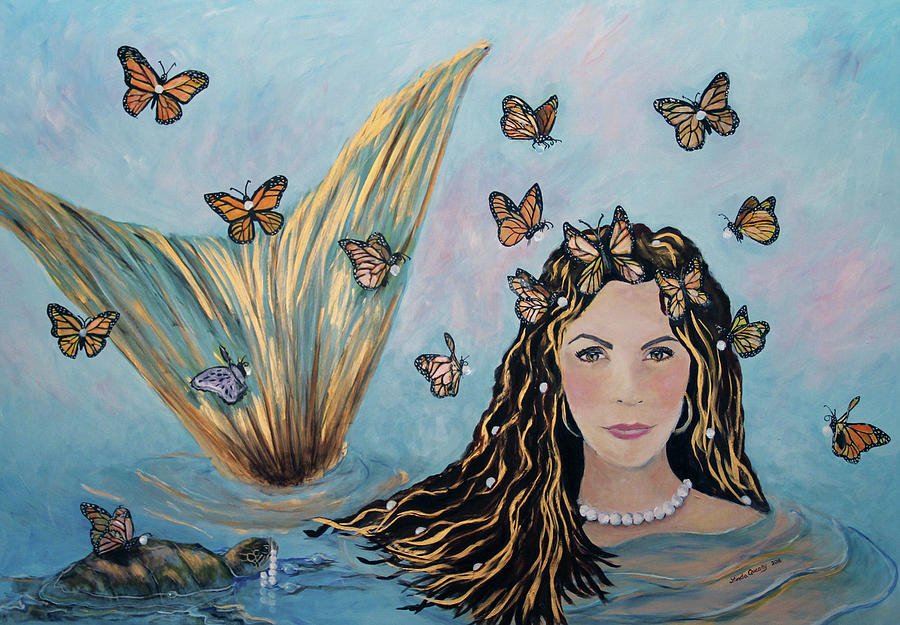 Mermaid Painting - More Precious Than Gold by Linda Queally