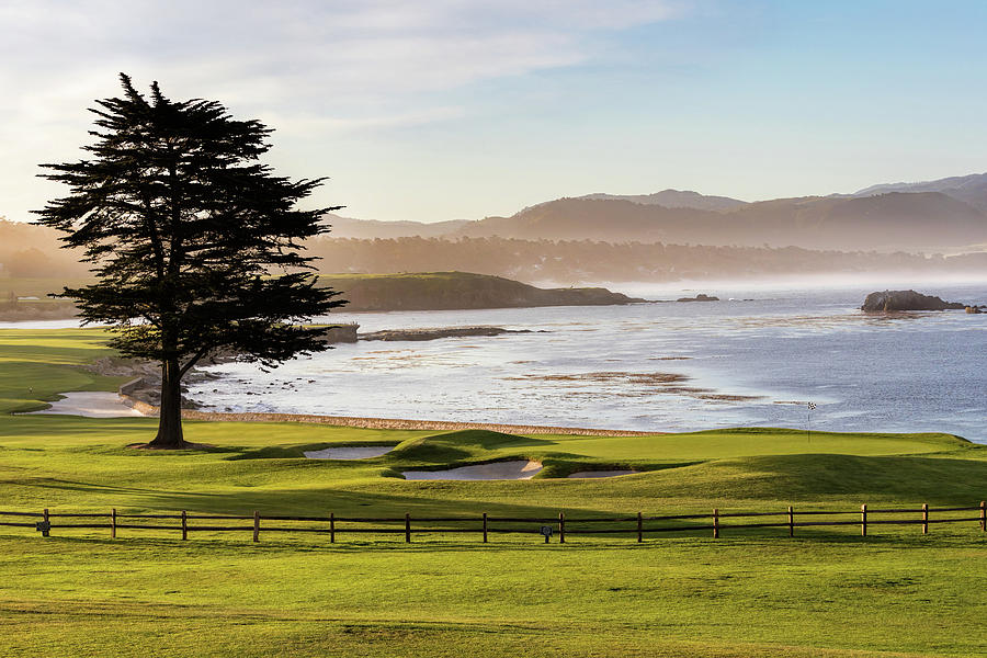 Morning at Pebble Beach Hole 18 by Mike Centioli