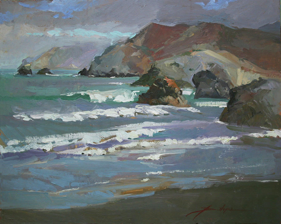 Seascape Painting - Morning Fog Shark Harbor - Catalina Island by Betty Jean Billups