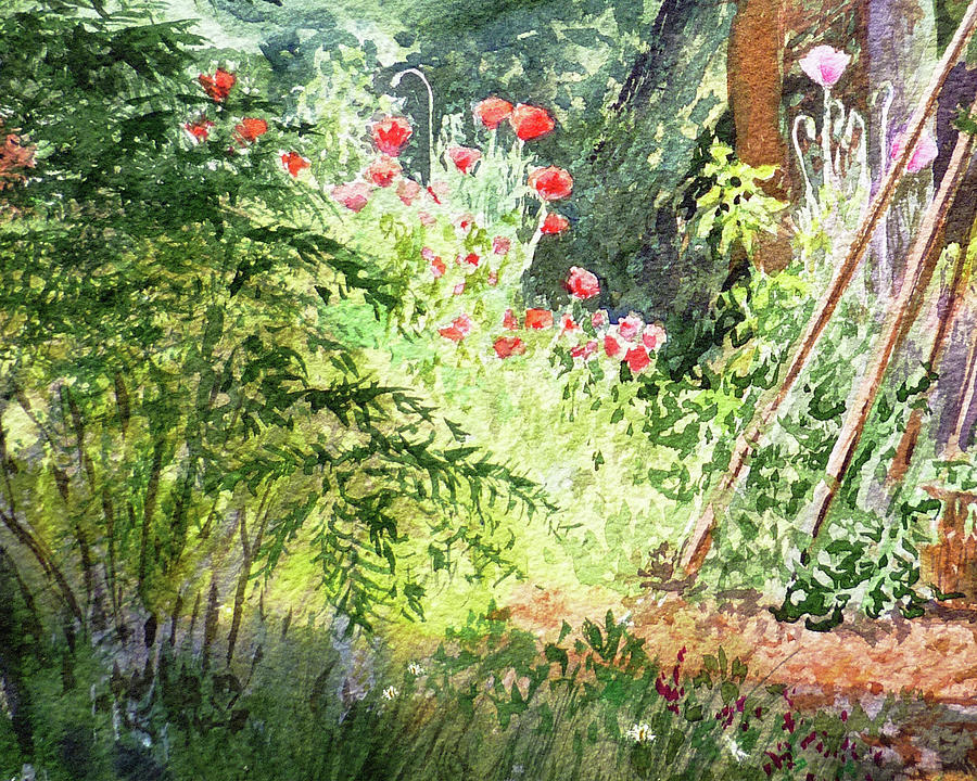Morning Meadow With Pink And Red Poppies Watercolor  by Irina Sztukowski