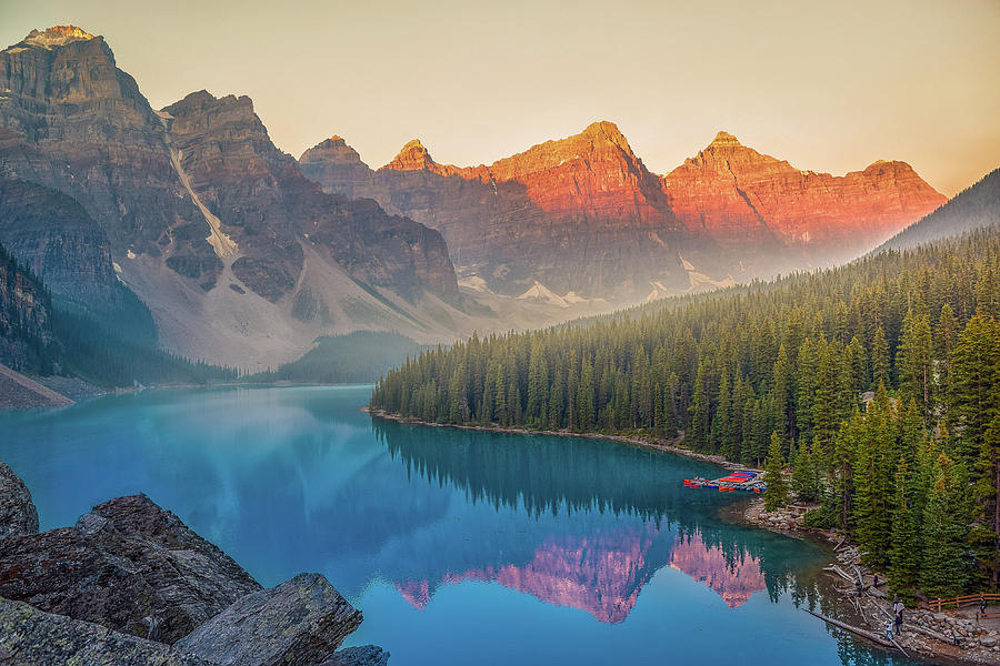 Morning View Of Morraine Lake, Lake Louise, Canada Photograph