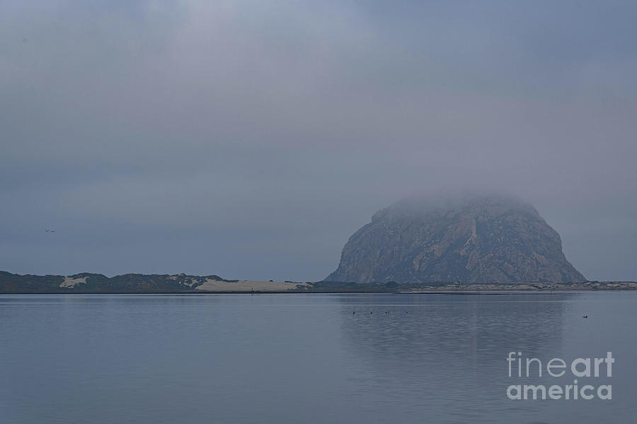 Morro Rock Photograph - Morro Rock Fog  by Jeff Hubbard