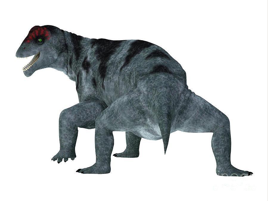 Moschops Digital Art - Moschops Dinosaur Tail by Corey Ford