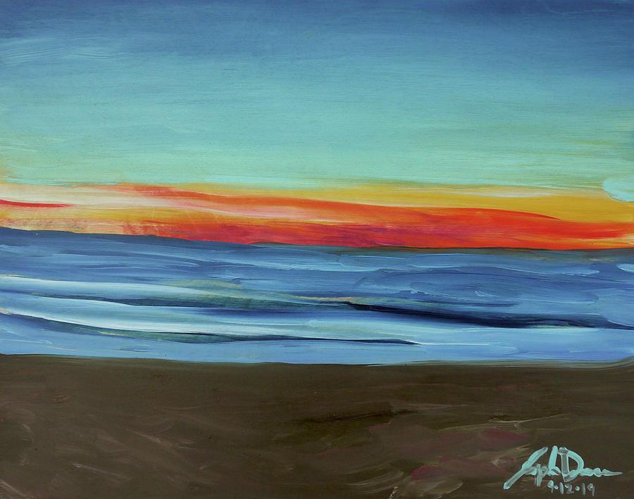 Sunset Painting - Moss Landing State Beach at Sunset by Joseph Demaree