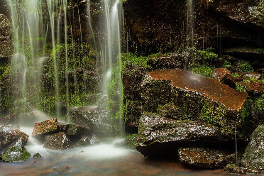 Mossy Rocks and Waterfall #1 by Irwin Barrett