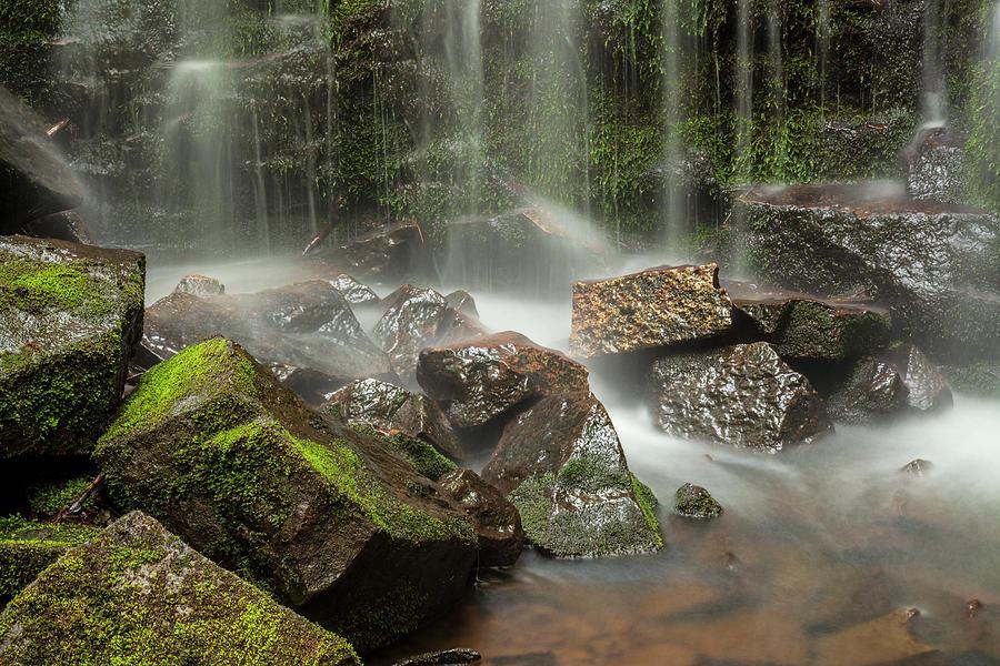 Mossy Rocks and Waterfall #2 by Irwin Barrett