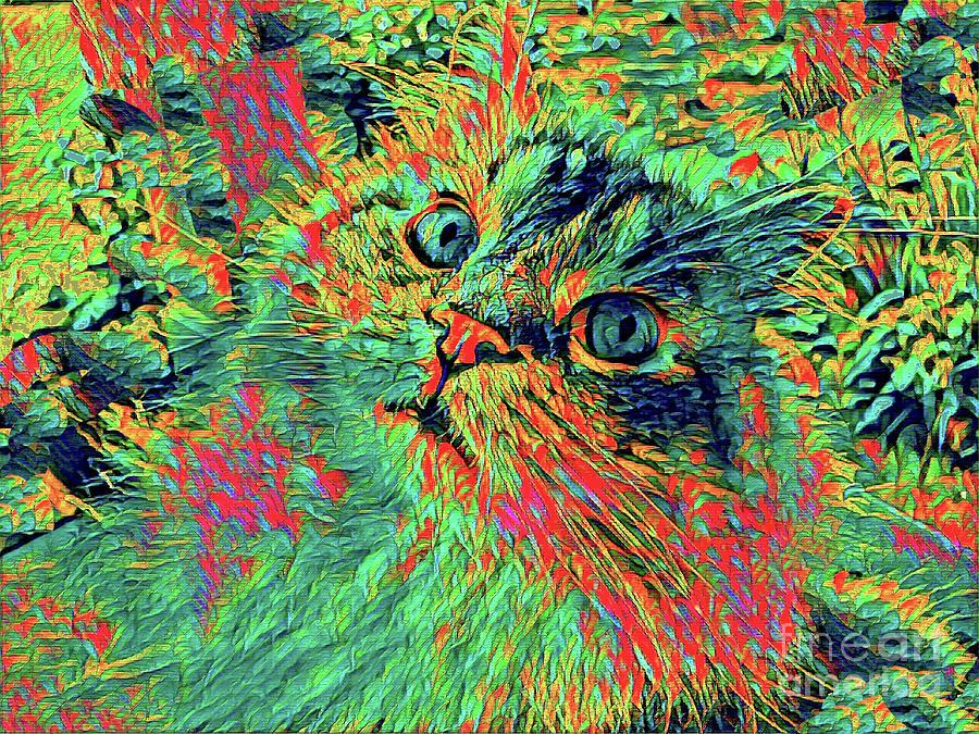 Cat Mixed Media - Most Colorful Cat by dep Arts