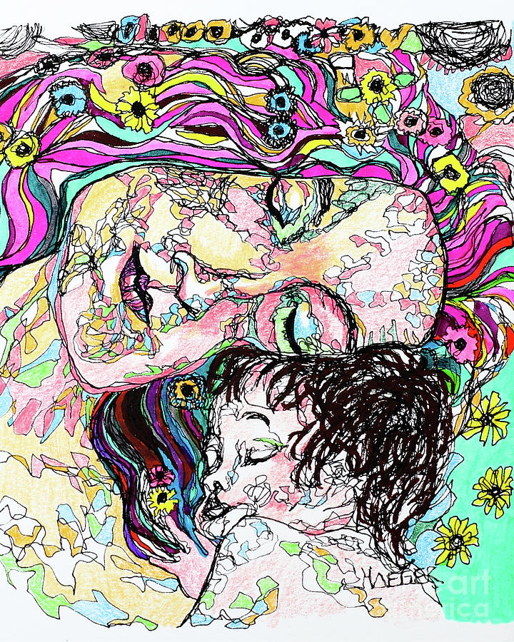 Mother And Child - Klimt Drawing