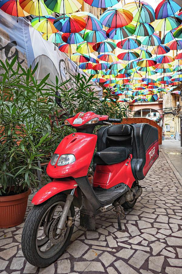 Bucharest Photograph - Motorbike on Piata Odeon - Bucharest, Romania by Barry O Carroll