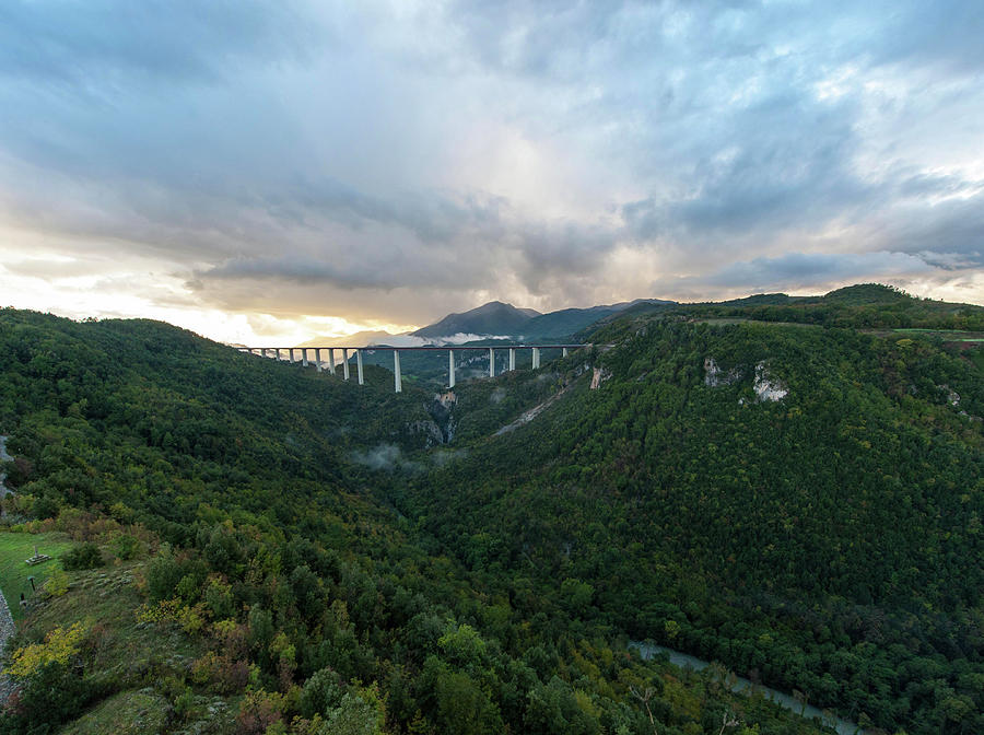 Aerial Photograph - Lao valley and Viaduct Italia in Calabria by Flavio Massari