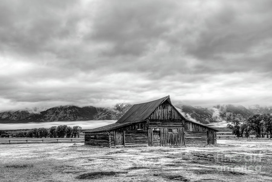 Moulton Barn Against The Tetons In Black And White Photograph