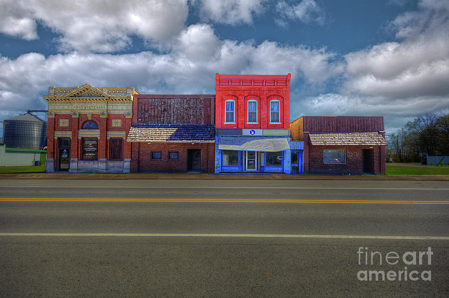 Hdr Photograph - Mounds City Street Facade  by Larry Braun