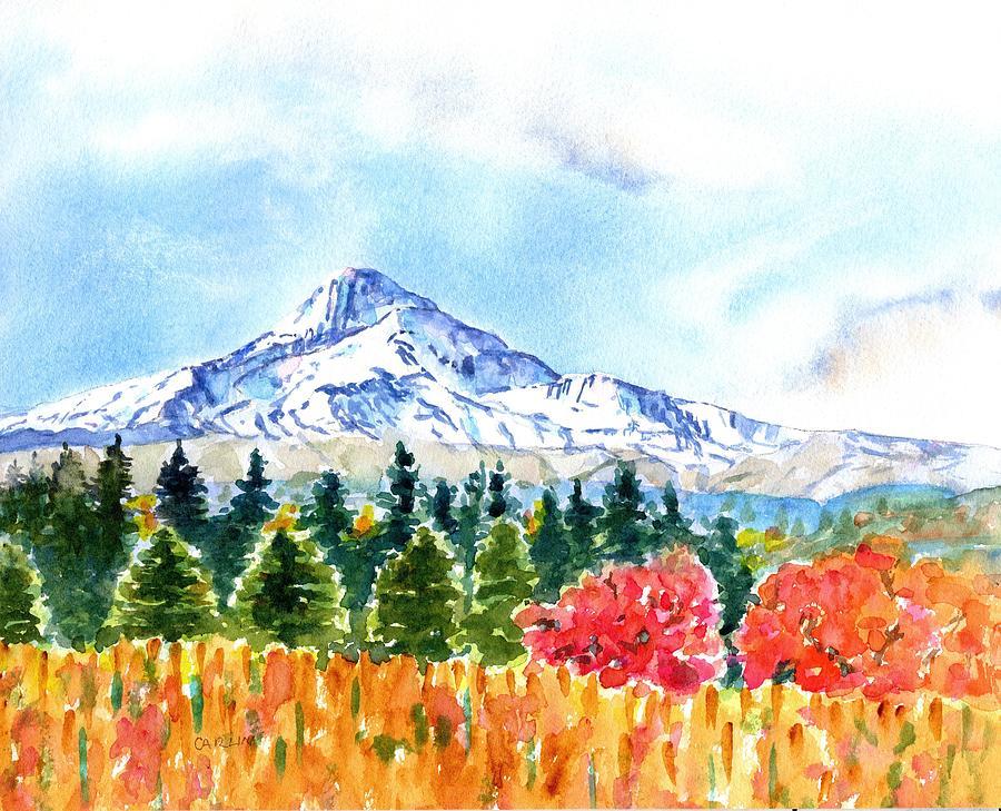 Mount Hood Oregon Fall Season by Carlin Blahnik CarlinArtWatercolor