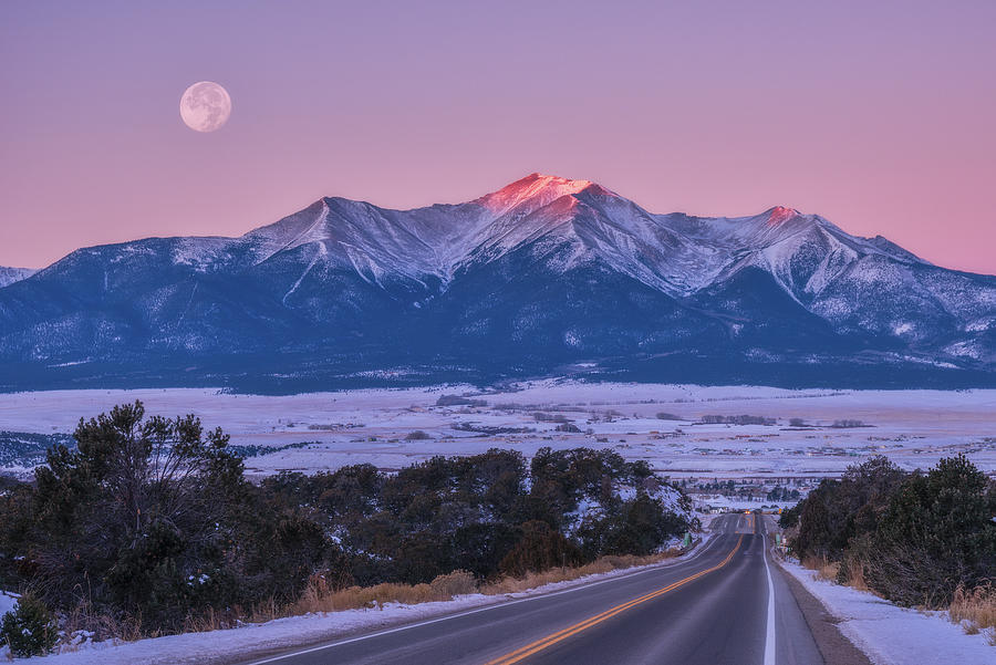 Mount Princeton Moonset Photograph
