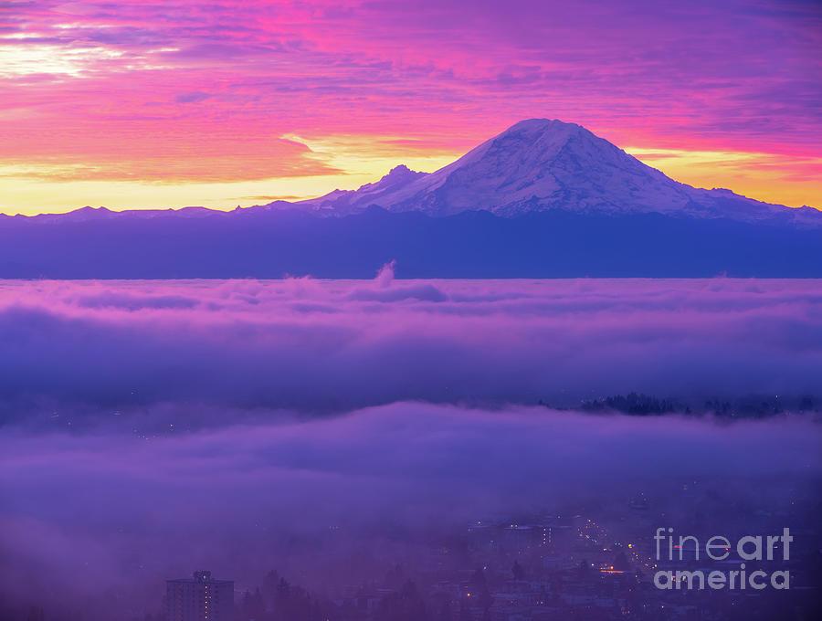 Mount Rainier At Sunrise Fog Layers Photograph