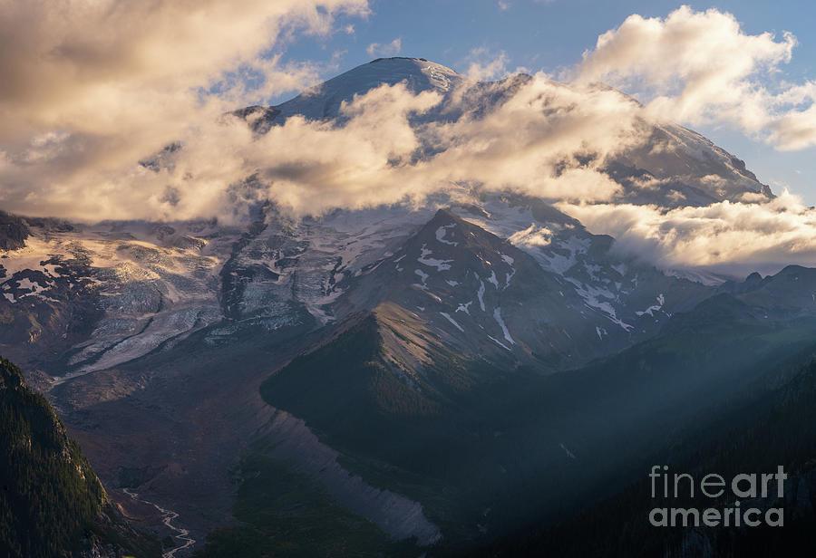 Mount Rainier Cloudscape Light Photograph