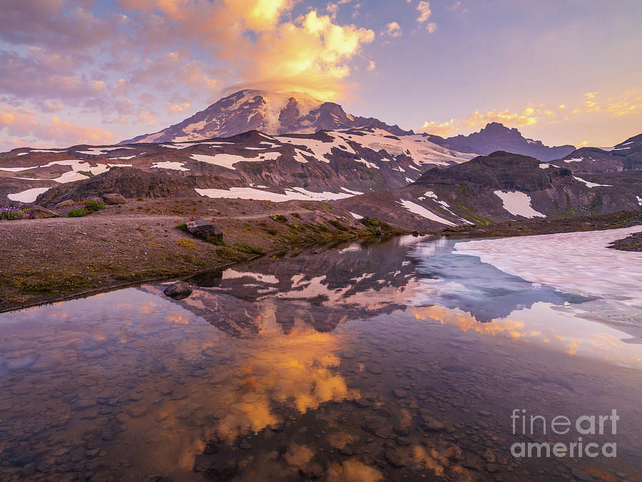 Mount Rainier Dawn Cloudscape Reflection Photograph