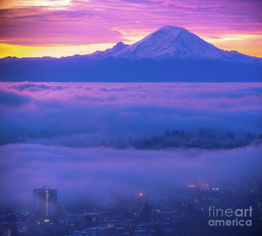 Seattle Photograph - Mount Rainier Fog Layers by Mike Reid