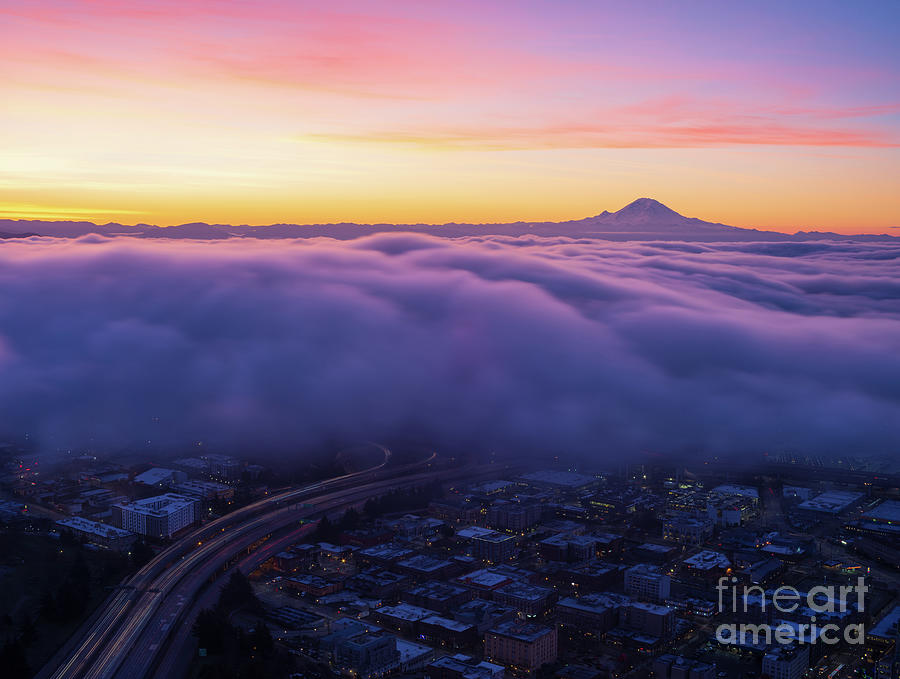 Seattle Photograph - Mount Rainier Sunrise Above the Clouds by Mike Reid