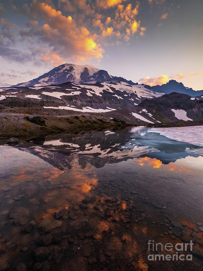 Mount Rainier Sunrise Cloudscape Reflection Photograph